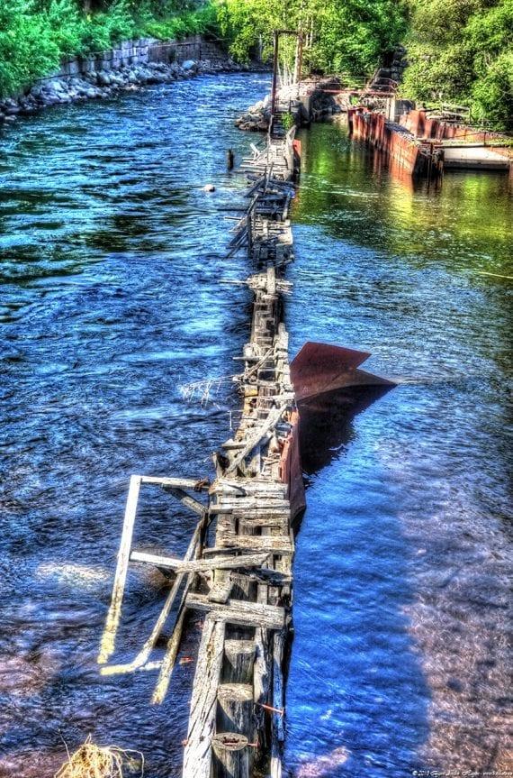Broken river pier