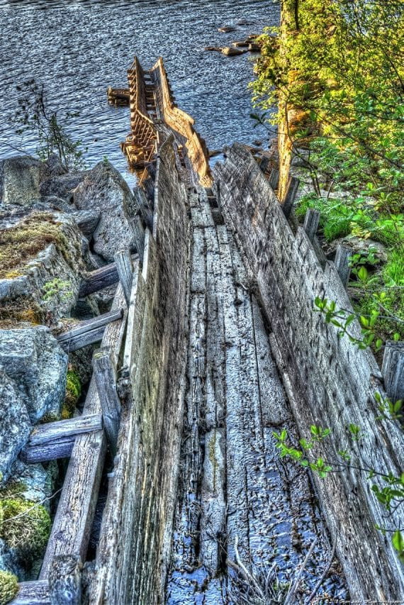 Broken timber gate