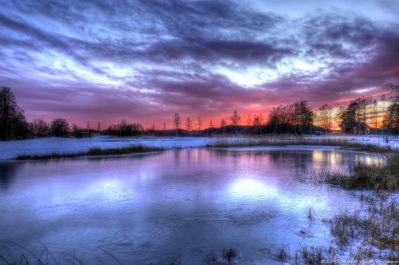 Winter Pond in sunset