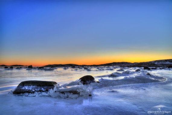 Nevlunghavn sunset on ice